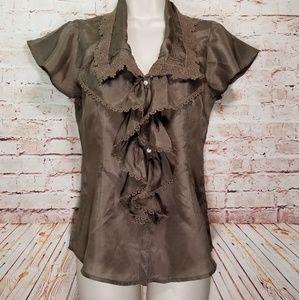 Lucky Brand | Ruffled Silk Shirt NWOT